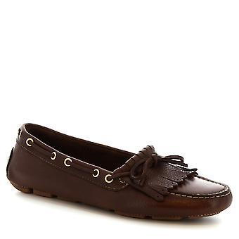 Leonardo Shoes women's handmade boat mocassins in dark brown calf leather