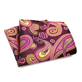 Pink red & brown two tone swirl paisley pocket square