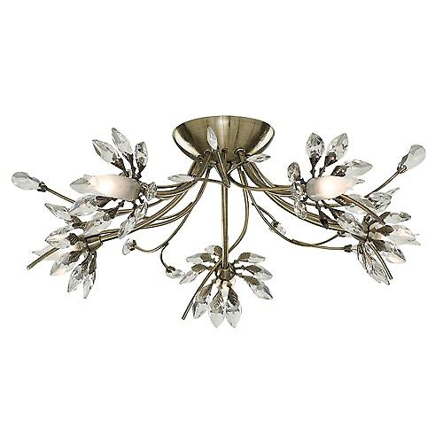 Searchlight 2885-5AB Hibiscus Traditional Antique Flush Light With Crystal Flower Glass