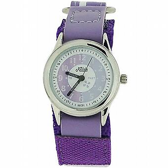 Relda Time Teacher Lilac Easy Fasten Strap Children Boys Girl Kids Watch + Award