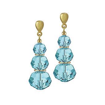 Eternal Collection Trinity Aquamarine Austrian Crystal Gold Tone Drop Pierced Earrings