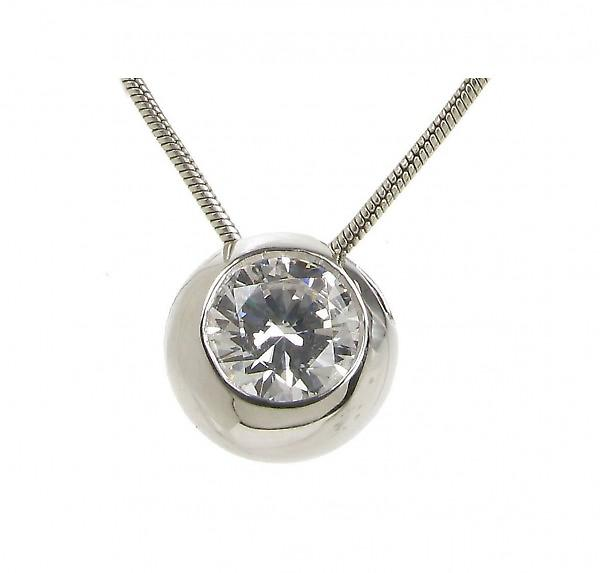 Cavendish French Sterling Silver and CZ Bowl Pendant