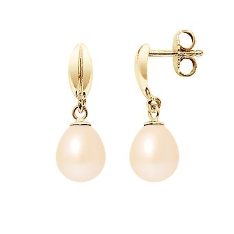 Rose cultured pearl and yellow gold earrings 375/1000