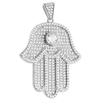 Premium Bling - colgante HAMSA de plata esterlina 925