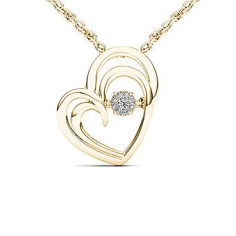 IGI Certified Solid 10k Yellow Gold 0.04Ct Diamond Heart Beat Pendant Necklace