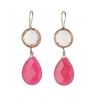 Gemshine Ohrringe Rosenquarzen und Jade Edelstein Tropfen 925 Silber vergoldet