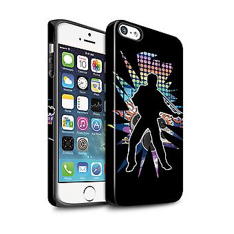 STUFF4 Matte Tough Case for Apple iPhone 5/5S/Elvis Black/Rock Star Pose