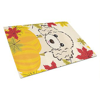 Buff Poodle Thanksgiving Glass Cutting Board Large BB2064LCB