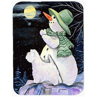 Snowman with Westie Glass Cutting Board Large