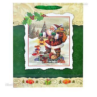 1 x liten grön lyx jul gåva väska - 3D dekorativa Glitter papperspåse för Party gåvor