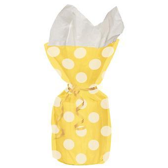 2PK unika Polka Dot cellofan påsar gula Party för presentpåsar