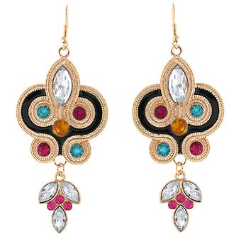 Large Gold & Multicoloured Crystal Nouveau Drop Earrings