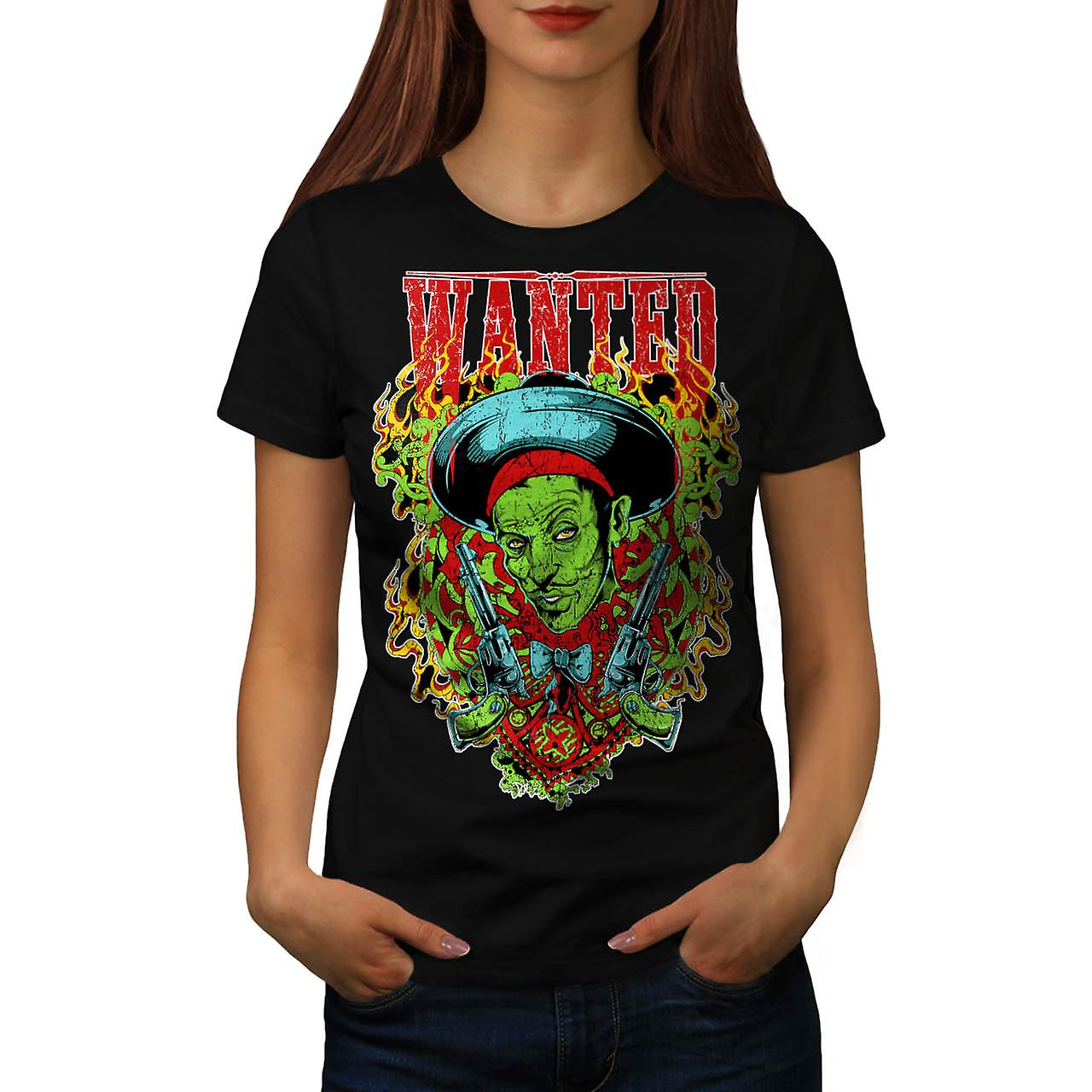 Wanted Dead Or Alive Crime Gun Women Black T-shirt | Wellcoda