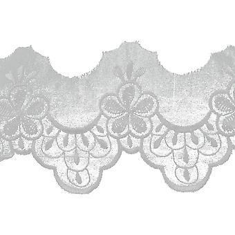 Embroidered Daisy Edge Bridal Organza Trim 3-1/4