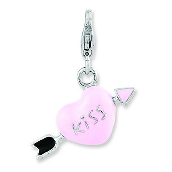 Sterling Silver Enameled 3-d Kiss Cupid Heart With Lobster Clasp Charm - 2.5 Grams