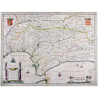 Map Of Andalusia Spain By Willem And Or Joannes Blaeu Published Amsterdam 1640 PosterPrint