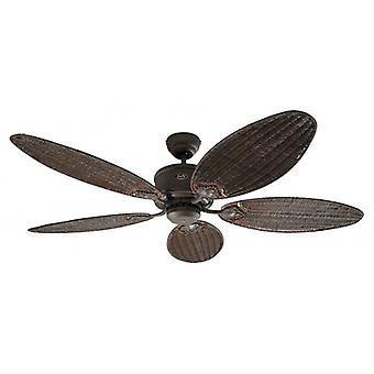 DC ceiling fan Eco Elements Brown antique with antique rattan cane blades and remote control