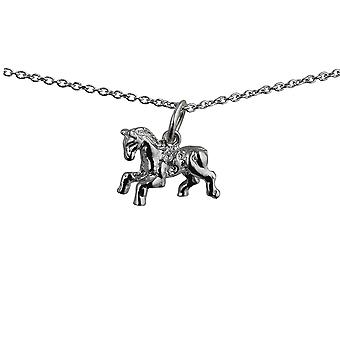 Silver 11x17mm Fair Ground Carousel Horse Pendant with a rolo Chain 14 inches Only Suitable for Children
