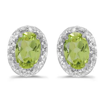 10k White Gold Oval Peridot And Diamond Earrings
