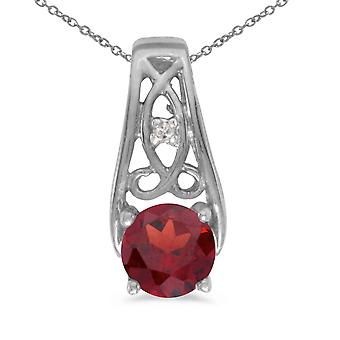 10k White Gold Round Garnet And Diamond Pendant with 16