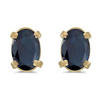 14k Yellow Gold Oval Sapphire Earrings