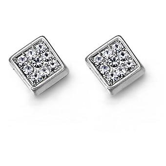 Jewel City Square Earrings With Crystals - Silver Mate