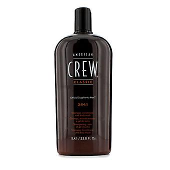 American Crew Men Classic 3-IN-1 Shampoo, Conditioner & Body Wash 1000ml/33.8oz