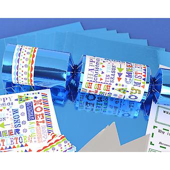 8 Blue Foil Funky Christmas Make & Fill Your Own Party Crackers Kit