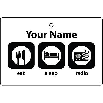 Personalised Eat Sleep Radio Car Air Freshener