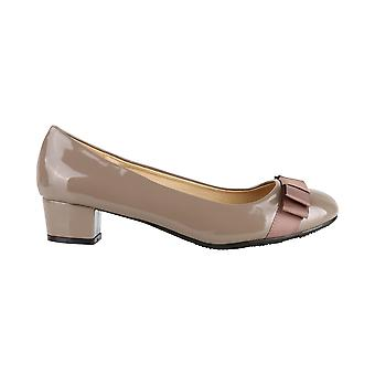 KRISP Low Heel Patent Bow Pumps