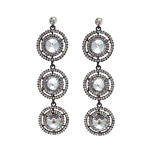 W.A.T Sparkling Clear Long Triple Disc Fashion Earrings