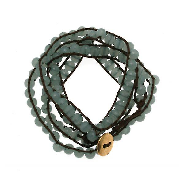 W.A.T Brown Cord And Blue Pastel Bead Wrap Bracelet