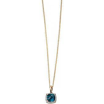 Elements Gold Kaleidoscope 9ct Gold Topaz and Diamond Checkerboard Pendant - London Blue/Gold
