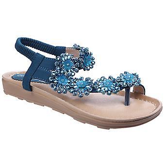 Divaz Selena Floral Diamante tå Post ankel rem sandaler