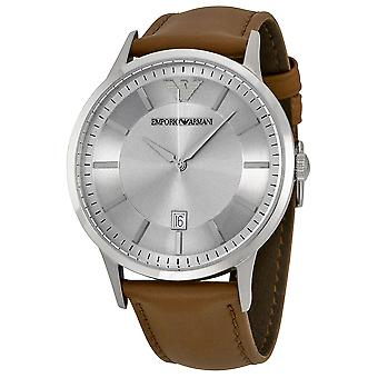 Emporio Armani AR2463 Brown Leather Strap Grey Date Window Dial Watch