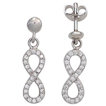 Ear plug eight 925 sterling silver rhodium plated 48 cubic zirconia earrings silver