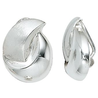 Clip earrings clips 925 sterling silver rhodium-plated partially frosted Silver earrings