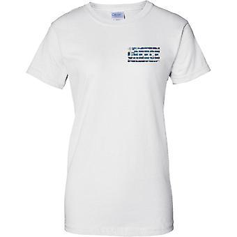 Griechenland Grunge Land Name Flag Effect - Damen Brust Design T-Shirt