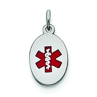 925 Sterling Argent Argent Enamel Poli Engravable Medical Jewelry Charm - .8 Grammes