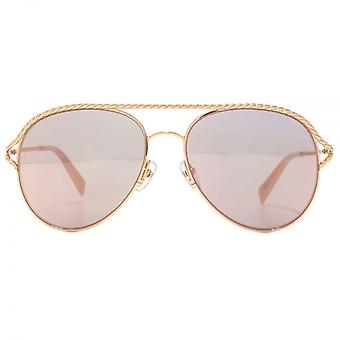Marc Jacobs Metal Twist Pilot Sunglasses In Gold Pink