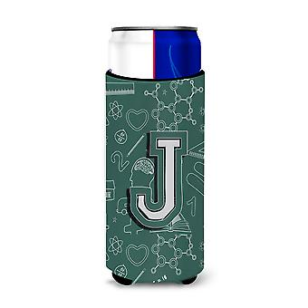 Letter J Back to School Initial Ultra Beverage Insulators for slim cans