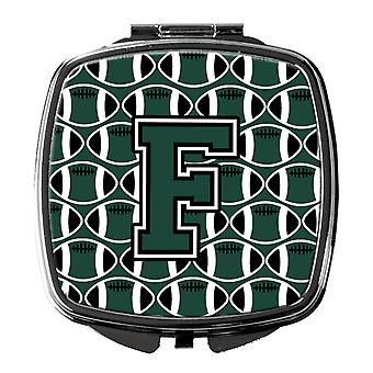 Letter F Football Green and White Compact Mirror