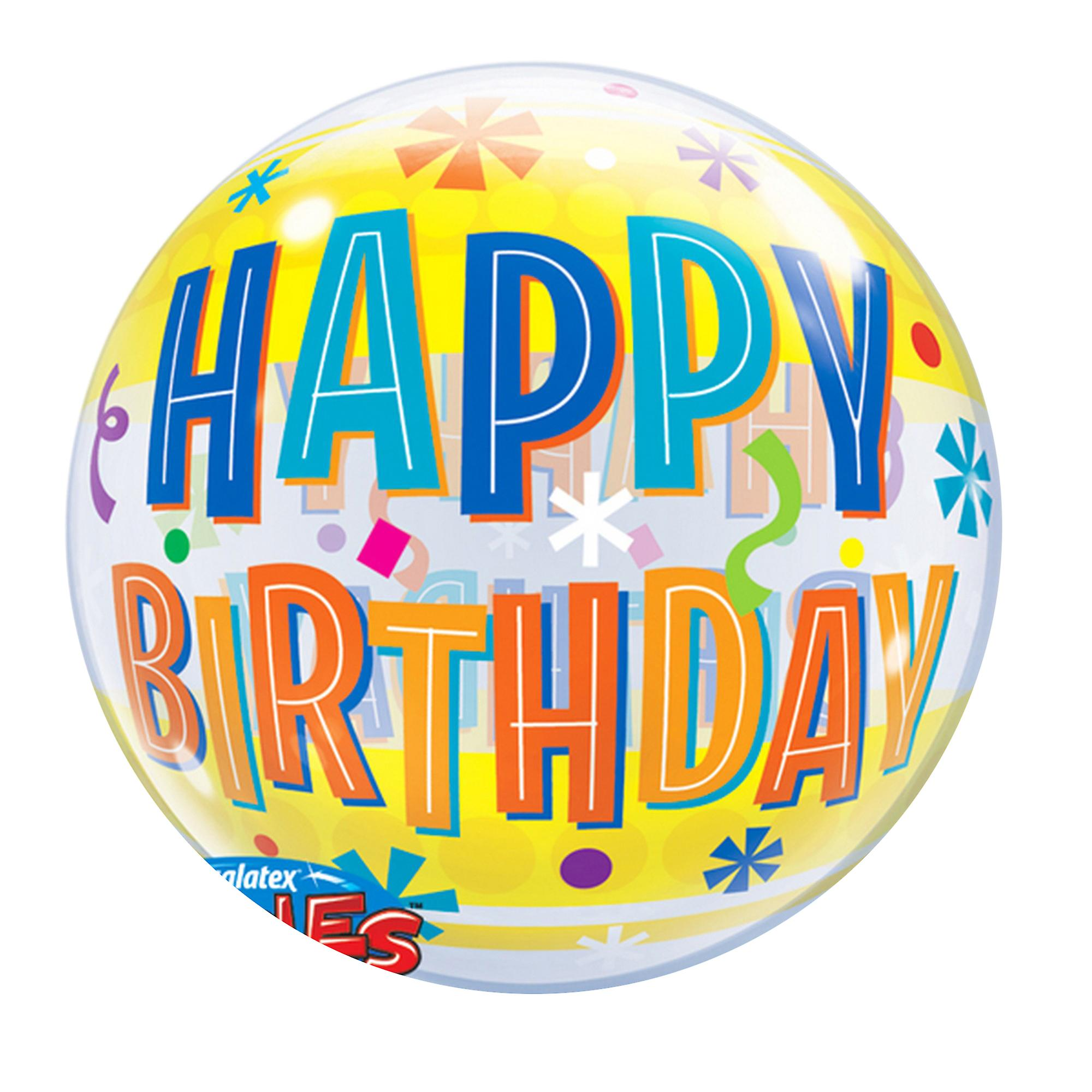 Qualatex 22 Inch Happy Birthday Bubble Balloon