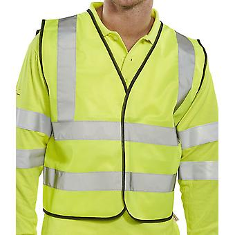 B-Seen En471 Short Hi Vis Safety Vest App G Saturn Yellow - Wcengsh