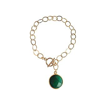 Gemshine - ladies - bracelet - gold plated - emerald - green - CANDY