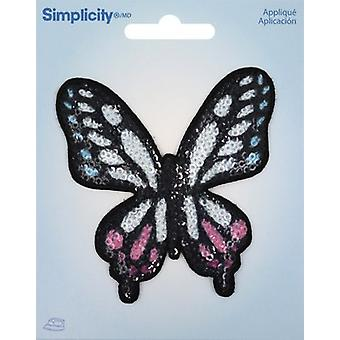 Wrights Sequin Iron-On Applique-Butterfly 193 2027