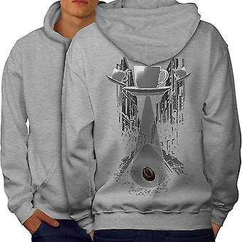 Coffee Cup Being Fantasy Men GreyHoodie Back | Wellcoda