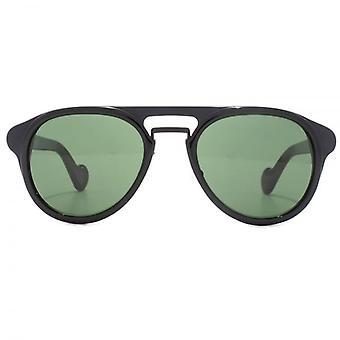 Moncler Classic Double Bridge Sunglasses In Shiny Black
