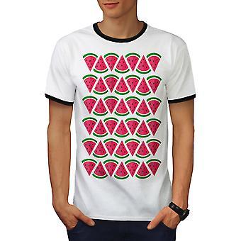 Watermeloen stuk mannen wit / BlackRinger T-shirt | Wellcoda