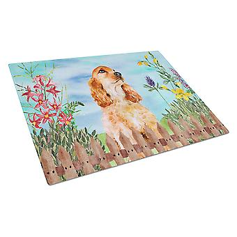 Carolines Treasures  CK1268LCB Cocker Spaniel Spring Glass Cutting Board Large